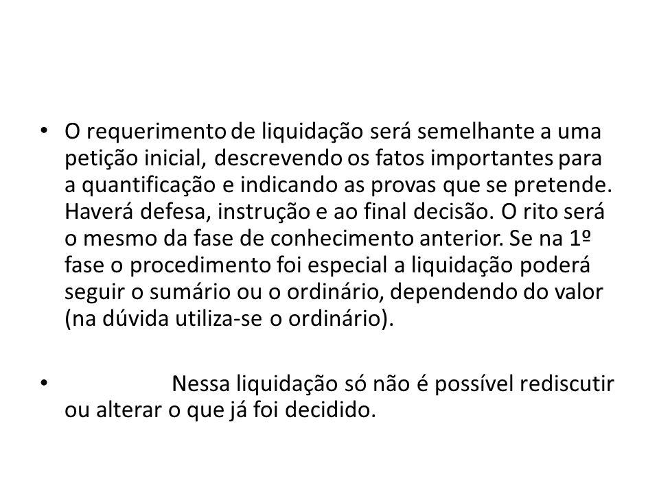 O requerimento de liquidação será semelhante a uma petição inicial, descrevendo os fatos importantes para a quantificação e indicando as provas que se