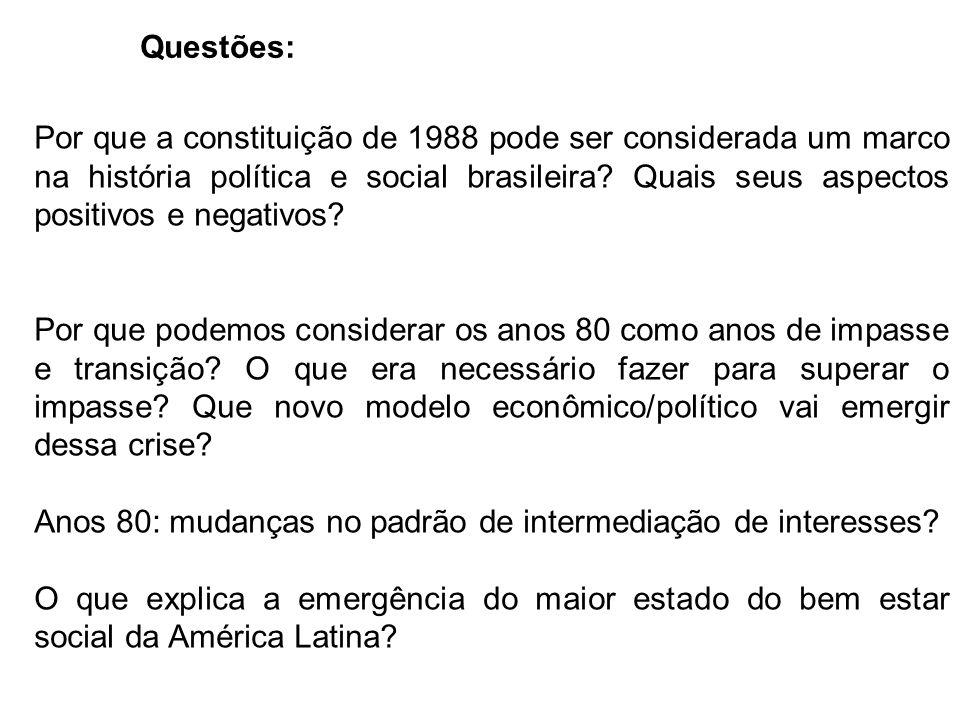 Questões: Por que a constituição de 1988 pode ser considerada um marco na história política e social brasileira.
