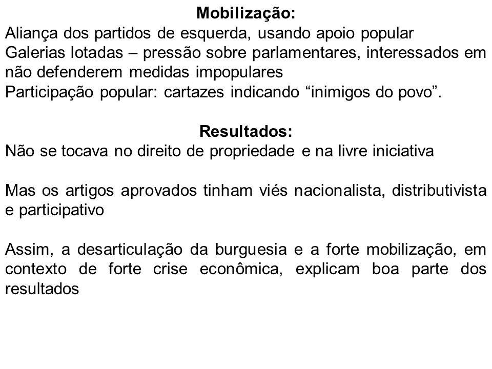 Mobilização: Aliança dos partidos de esquerda, usando apoio popular Galerias lotadas – pressão sobre parlamentares, interessados em não defenderem medidas impopulares Participação popular: cartazes indicando inimigos do povo.