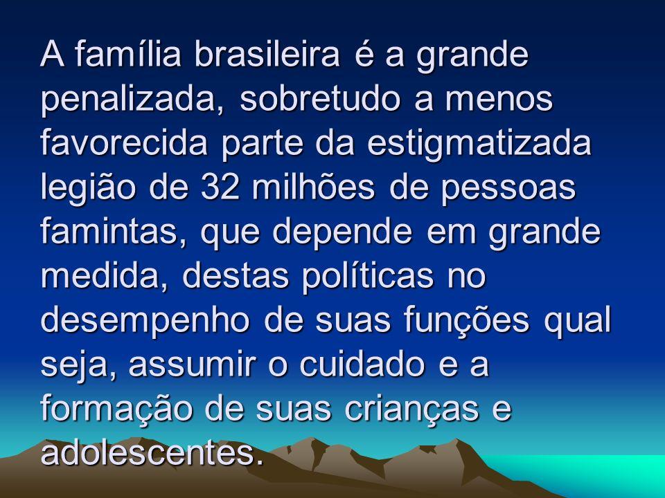 A família brasileira é a grande penalizada, sobretudo a menos favorecida parte da estigmatizada legião de 32 milhões de pessoas famintas, que depende