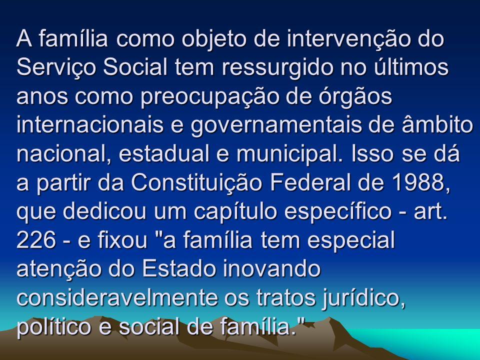 A família como objeto de intervenção do Serviço Social tem ressurgido no últimos anos como preocupação de órgãos internacionais e governamentais de âm