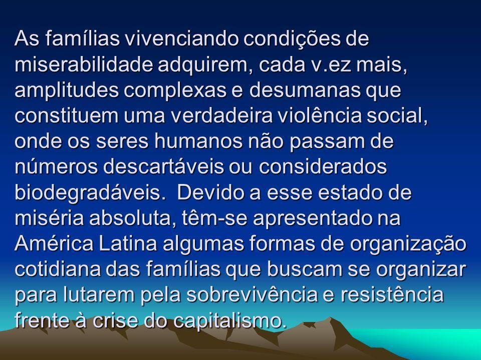 As famílias vivenciando condições de miserabilidade adquirem, cada v.ez mais, amplitudes complexas e desumanas que constituem uma verdadeira violência