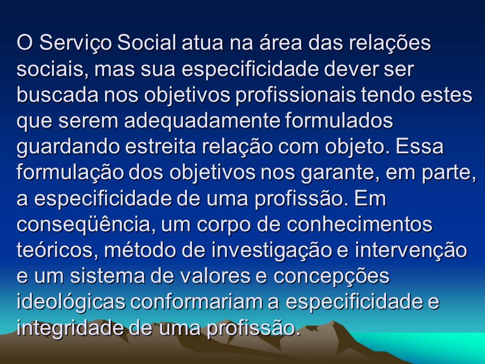 O Serviço Social atua na área das relações sociais, mas sua especificidade dever ser buscada nos objetivos profissionais tendo estes que serem adequad