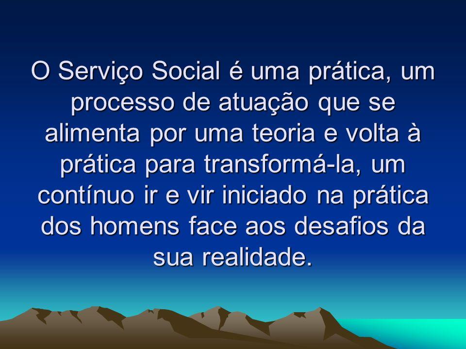 O Serviço Social é uma prática, um processo de atuação que se alimenta por uma teoria e volta à prática para transformá-la, um contínuo ir e vir inici