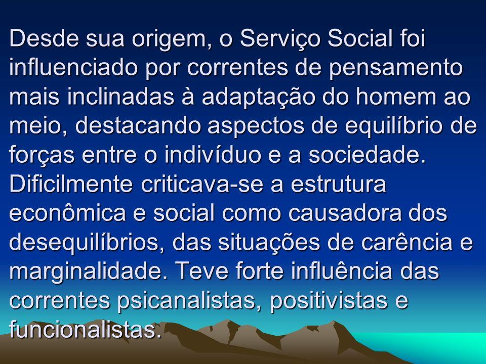 Desde sua origem, o Serviço Social foi influenciado por correntes de pensamento mais inclinadas à adaptação do homem ao meio, destacando aspectos de e