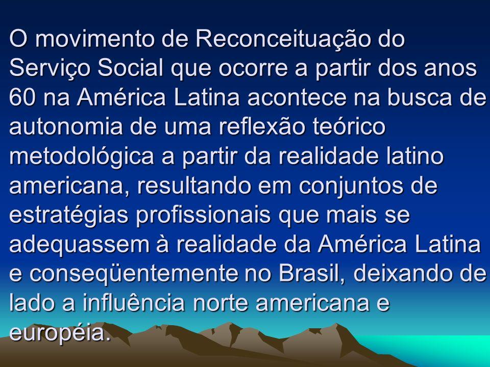 O movimento de Reconceituação do Serviço Social que ocorre a partir dos anos 60 na América Latina acontece na busca de autonomia de uma reflexão teóri