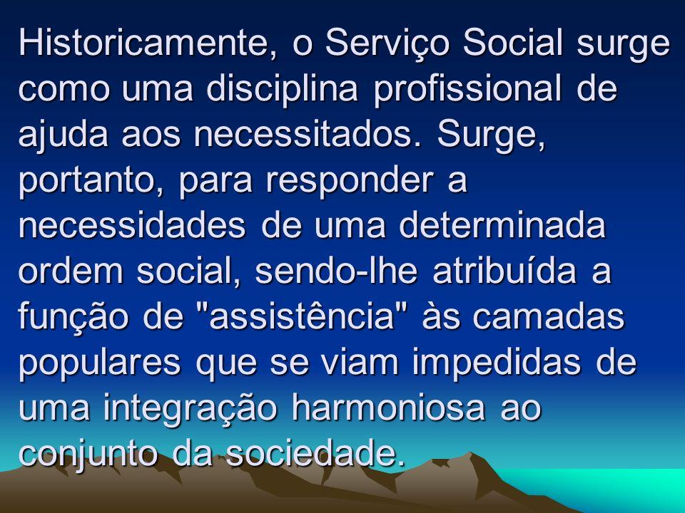 Historicamente, o Serviço Social surge como uma disciplina profissional de ajuda aos necessitados. Surge, portanto, para responder a necessidades de u