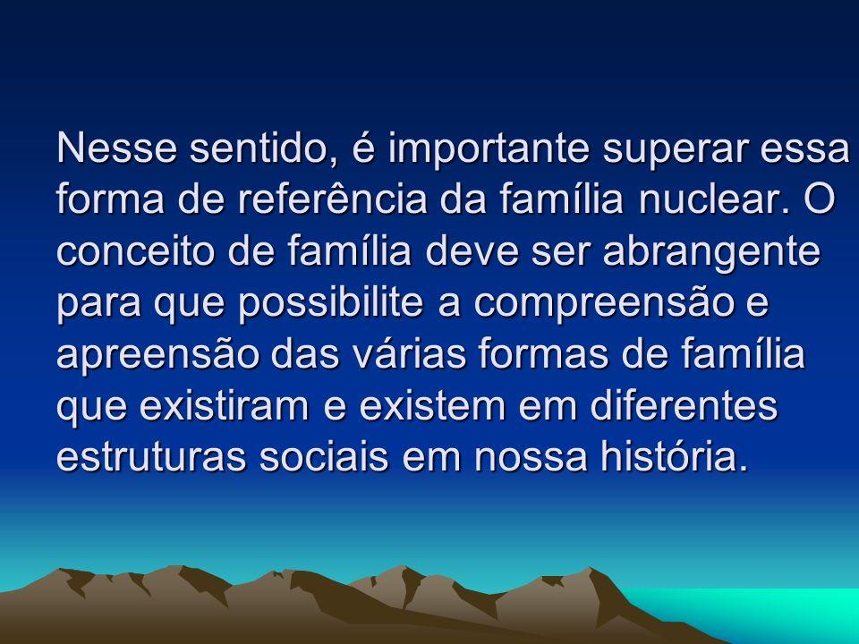 Nesse sentido, é importante superar essa forma de referência da família nuclear. O conceito de família deve ser abrangente para que possibilite a comp