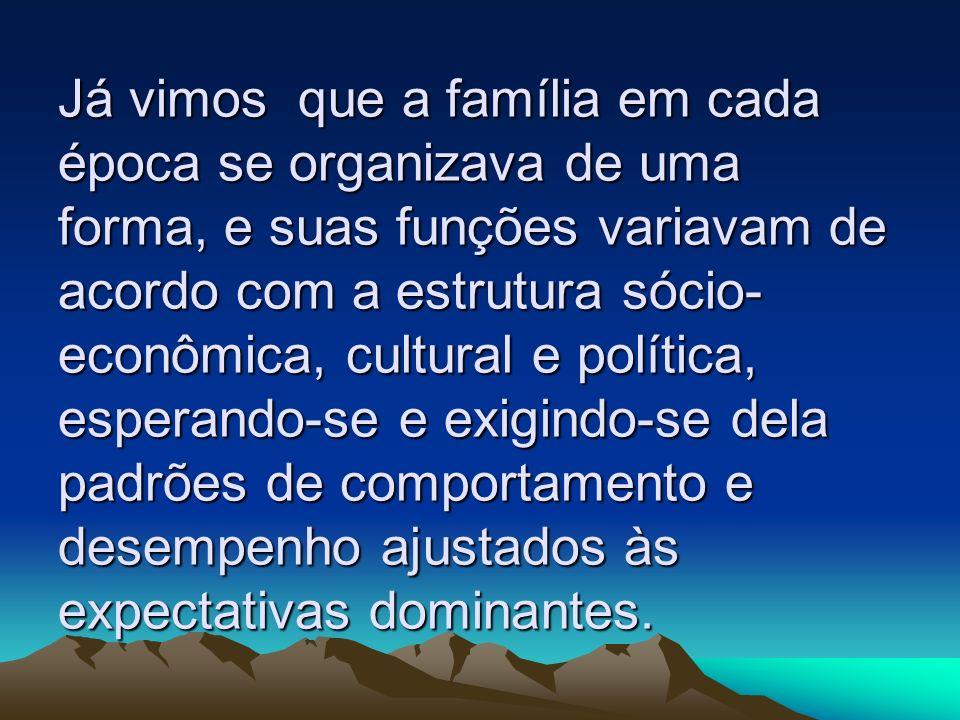 Já vimos que a família em cada época se organizava de uma forma, e suas funções variavam de acordo com a estrutura sócio econômica, cultural e políti