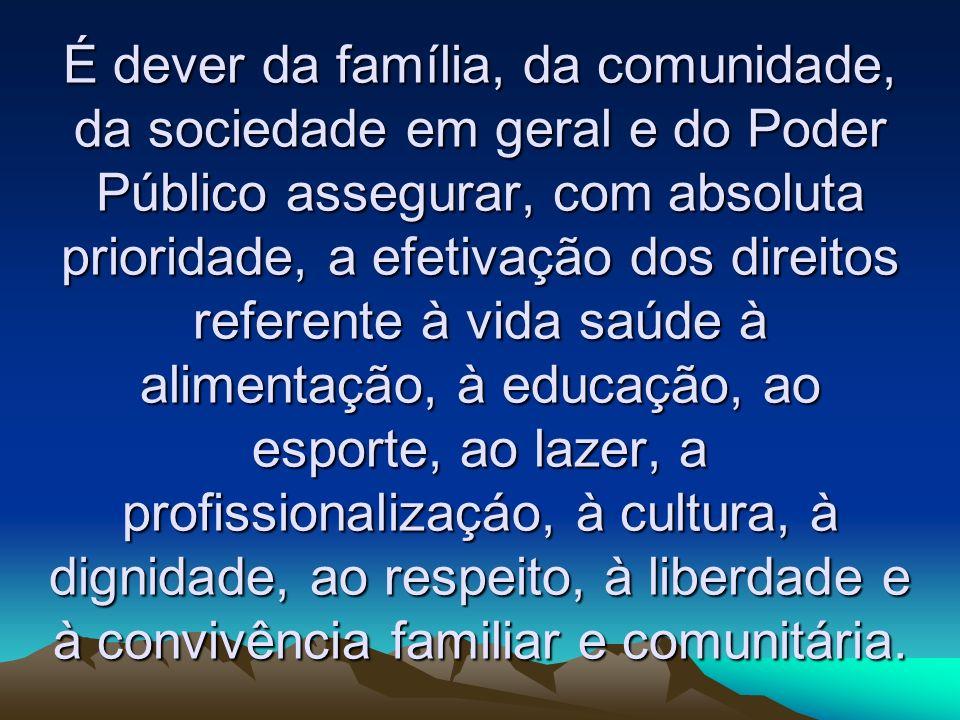 É dever da família, da comunidade, da sociedade em geral e do Poder Público assegurar, com absoluta prioridade, a efetivação dos direitos referente à