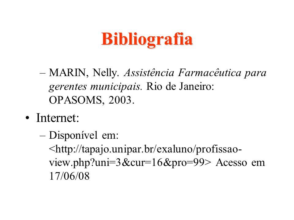 Bibliografia –MARIN, Nelly. Assistência Farmacêutica para gerentes municipais. Rio de Janeiro: OPASOMS, 2003. Internet: –Disponível em: Acesso em 17/0