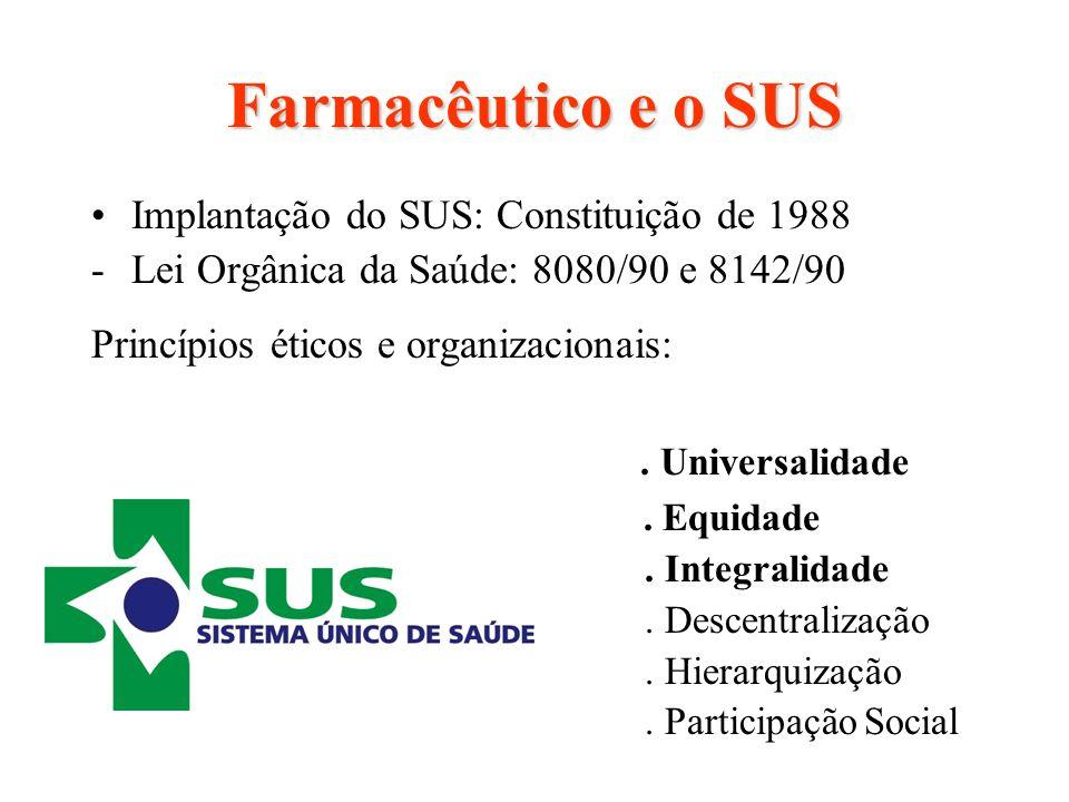 Farmacêutico e o SUS Implantação do SUS: Constituição de 1988 -Lei Orgânica da Saúde: 8080/90 e 8142/90 Princípios éticos e organizacionais:. Universa