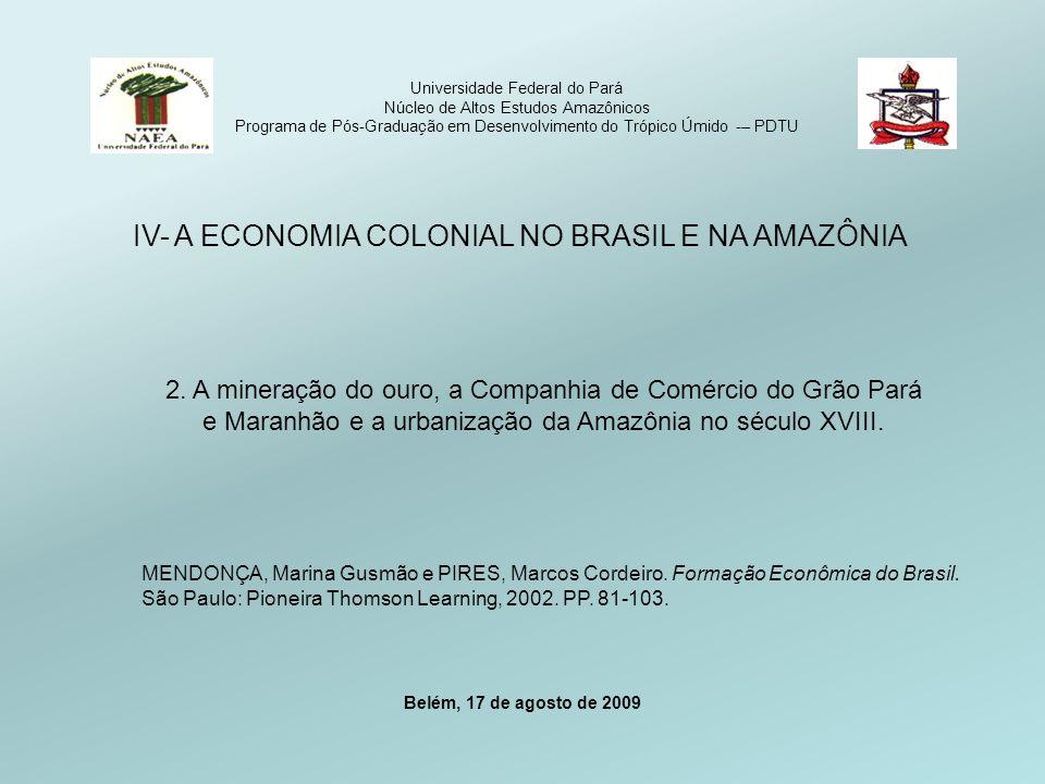 Universidade Federal do Pará Núcleo de Altos Estudos Amazônicos Programa de Pós-Graduação em Desenvolvimento do Trópico Úmido -– PDTU IV- A ECONOMIA COLONIAL NO BRASIL E NA AMAZÔNIA 2.