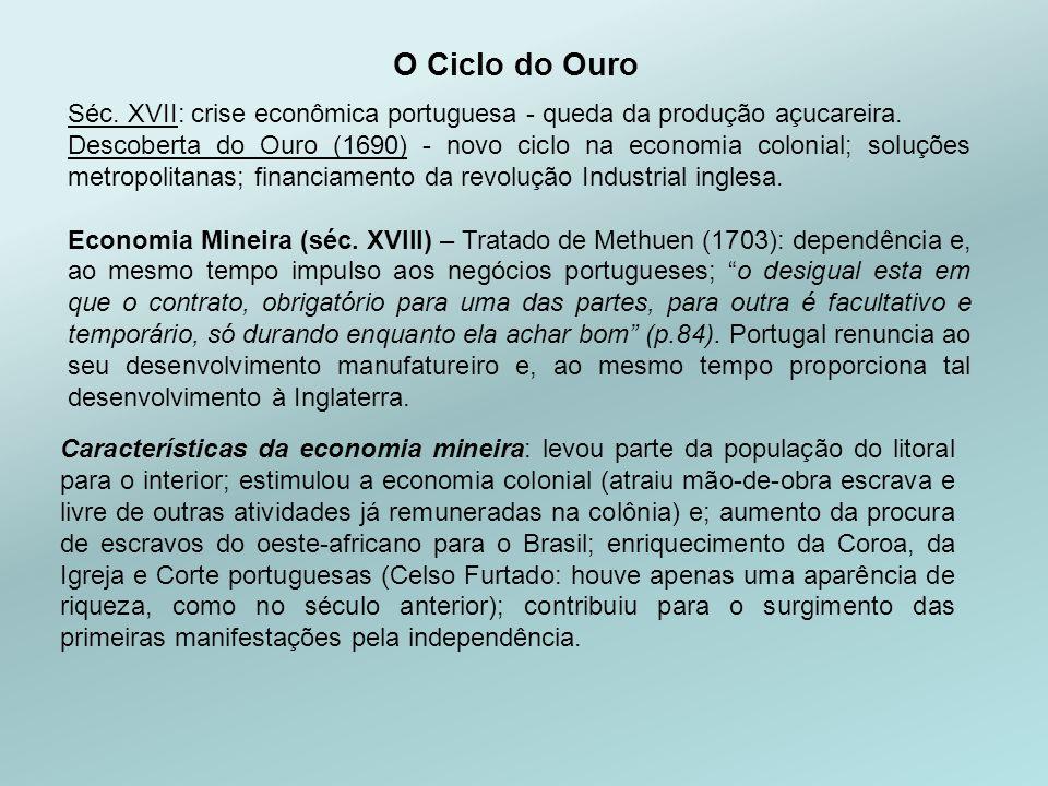 O Ciclo do Ouro Características da economia mineira: levou parte da população do litoral para o interior; estimulou a economia colonial (atraiu mão-de