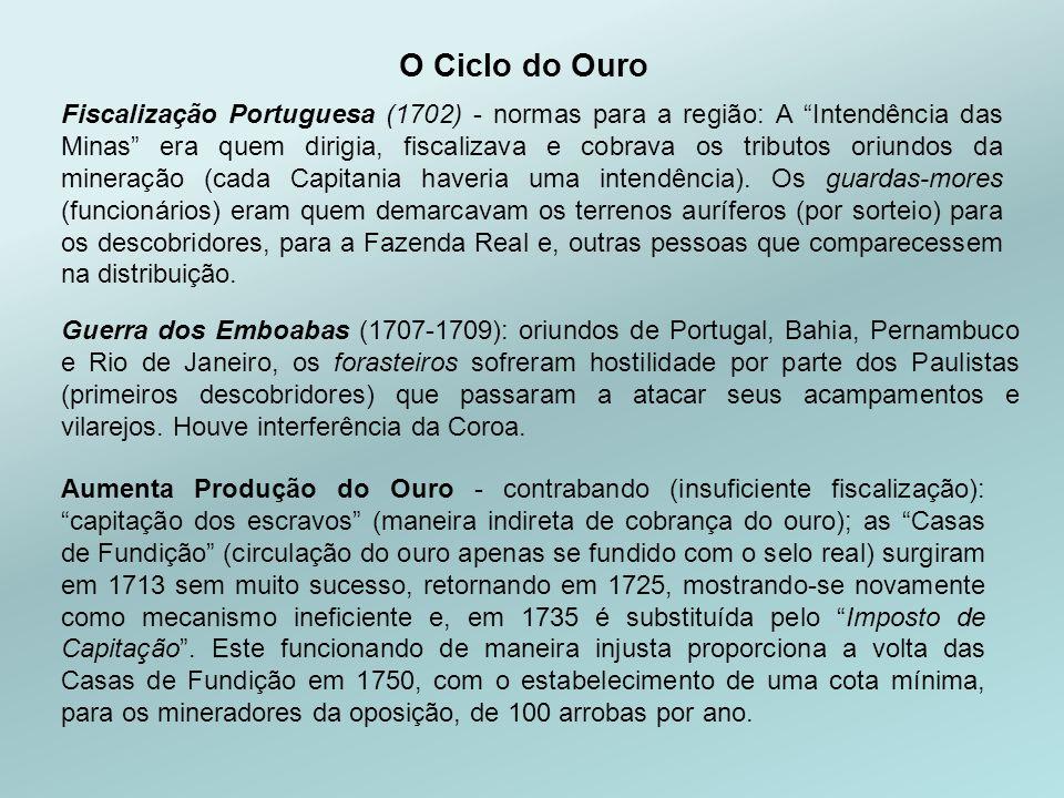 Fiscalização Portuguesa (1702) - normas para a região: A Intendência das Minas era quem dirigia, fiscalizava e cobrava os tributos oriundos da mineração (cada Capitania haveria uma intendência).