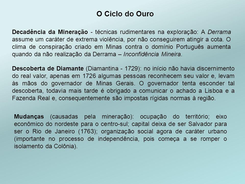 Descoberta de Diamante (Diamantina - 1729): no início não havia discernimento do real valor, apenas em 1726 algumas pessoas reconhecem seu valor e, levam às mãos do governador de Minas Gerais.
