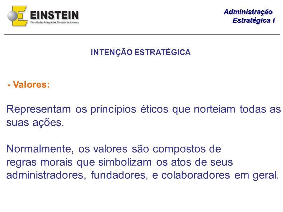 Administração Estratégica I Administração Estratégica I - Valores: Representam os princípios éticos que norteiam todas as suas ações. Normalmente, os