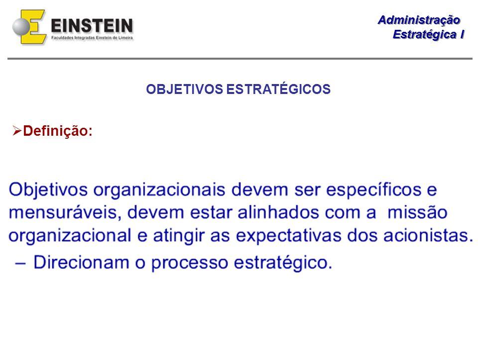 Administração Estratégica I Administração Estratégica I OBJETIVOS ESTRATÉGICOS Definição: