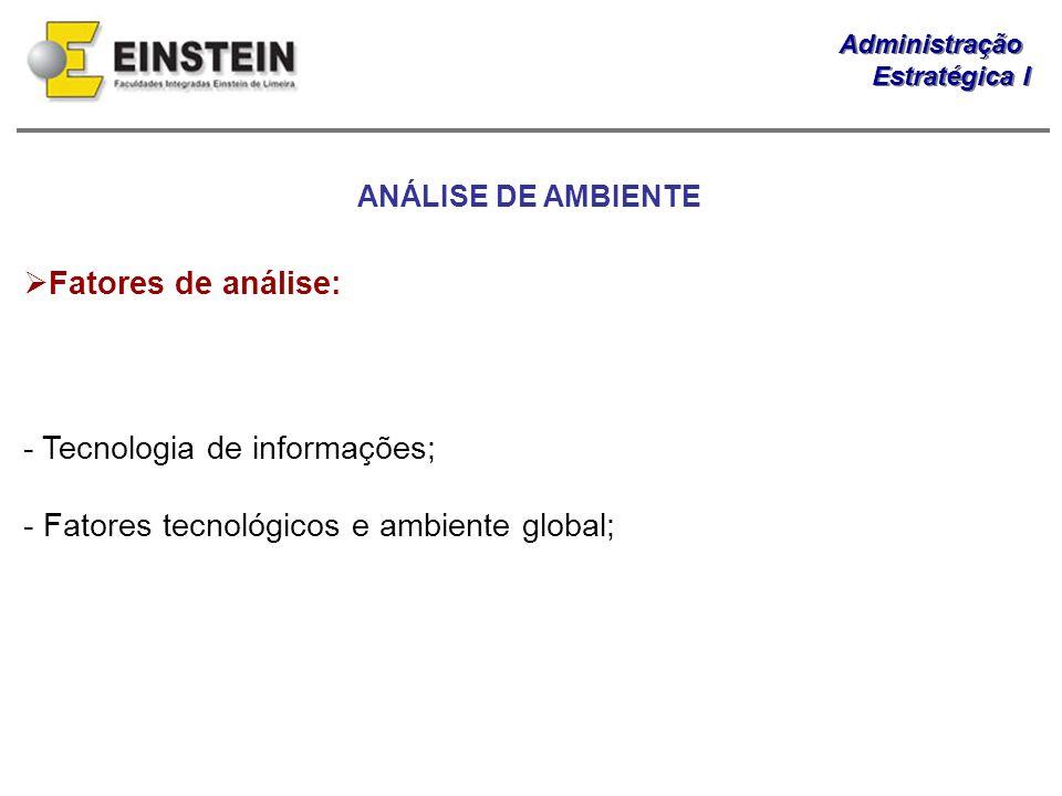 Administração Estratégica I Administração Estratégica I Fatores de análise: - Tecnologia de informações; - Fatores tecnológicos e ambiente global; ANÁ
