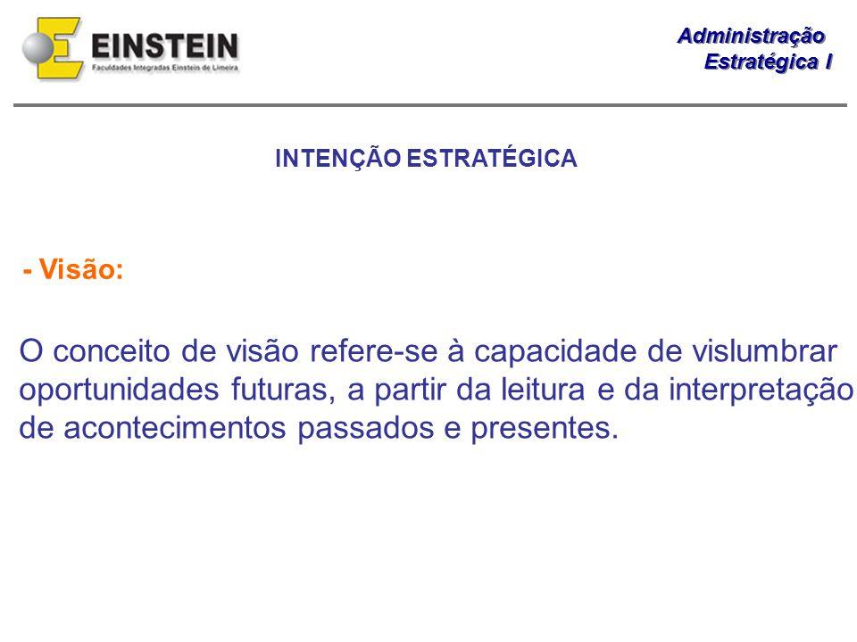 Administração Estratégica I Administração Estratégica I - Visão: O conceito de visão refere-se à capacidade de vislumbrar oportunidades futuras, a par
