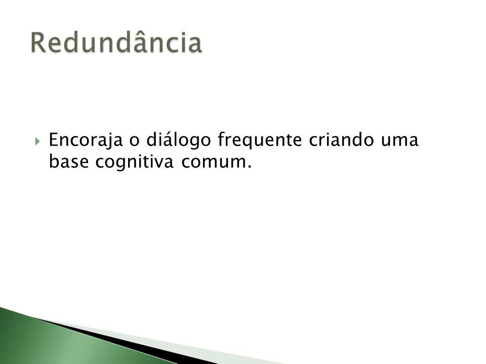 Encoraja o diálogo frequente criando uma base cognitiva comum.