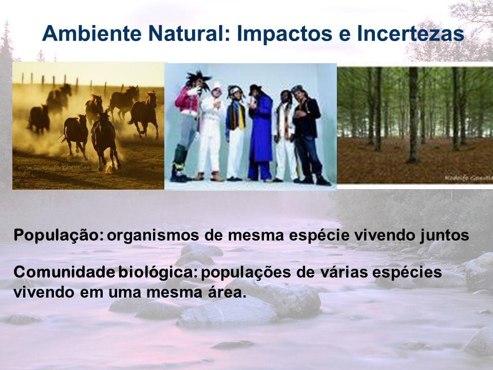 10 Ambiente Natural: Impactos e Incertezas População: organismos de mesma espécie vivendo juntos Comunidade biológica: populações de várias espécies v