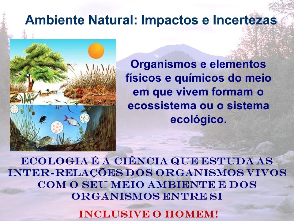 11 Ambiente Natural: Impactos e Incertezas Organismos e elementos físicos e químicos do meio em que vivem formam o ecossistema ou o sistema ecológico.