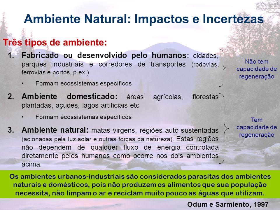 14 Ambiente Natural: Impactos e Incertezas Três tipos de ambiente: 1.Fabricado ou desenvolvido pelo humanos: cidades, parques industriais e corredores
