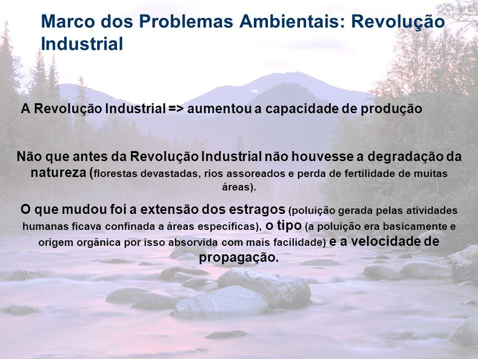 15 Marco dos Problemas Ambientais: Revolução Industrial A Revolução Industrial => aumentou a capacidade de produção Não que antes da Revolução Industr