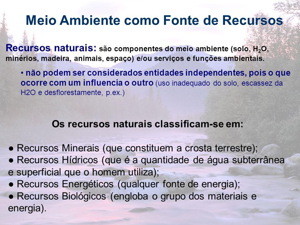 18 Meio Ambiente como Fonte de Recursos Os recursos naturais classificam-se em: Recursos Minerais (que constituem a crosta terrestre); Recursos Hídric