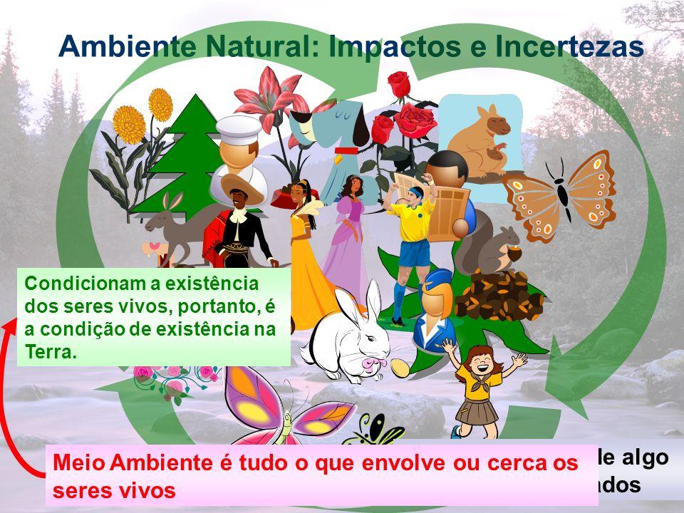 3 Ambiente Natural: Impactos e Incertezas Meio Ambiente é composto pelo ambiente natural e artificial Isto é Pelo ambiente físico e biológico originais e o que foi alterado, destruído e construído pelos seres humanos, como as áreas urbanas, industriais e rurais.