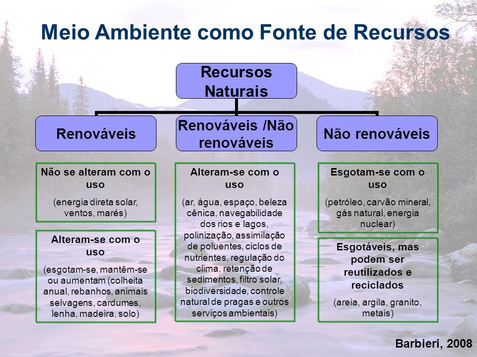 20 Meio Ambiente como Fonte de Recursos Recursos Naturais Renováveis Renováveis /Não renováveis Não renováveis Não se alteram com o uso (energia diret