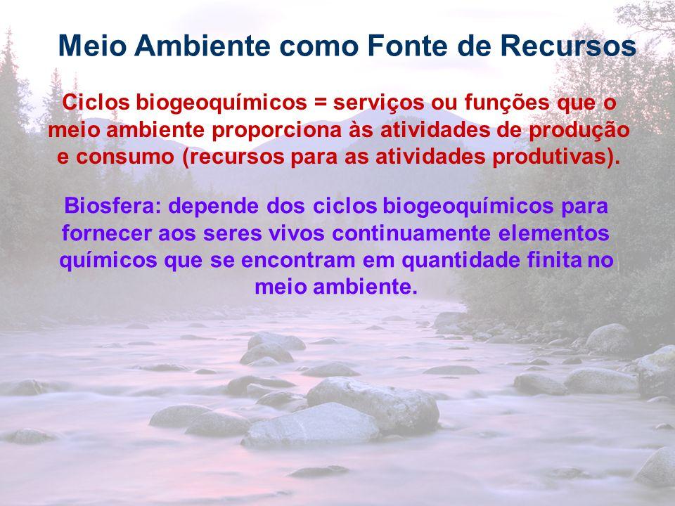 23 Meio Ambiente como Fonte de Recursos Ciclos biogeoquímicos = serviços ou funções que o meio ambiente proporciona às atividades de produção e consum