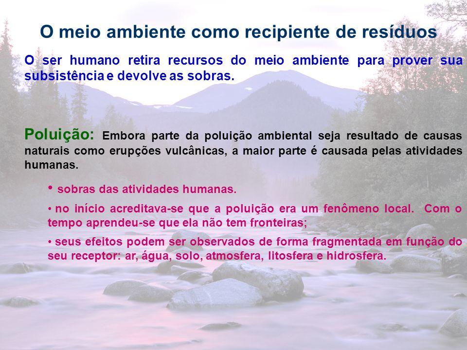 24 O meio ambiente como recipiente de resíduos O ser humano retira recursos do meio ambiente para prover sua subsistência e devolve as sobras. Poluiçã