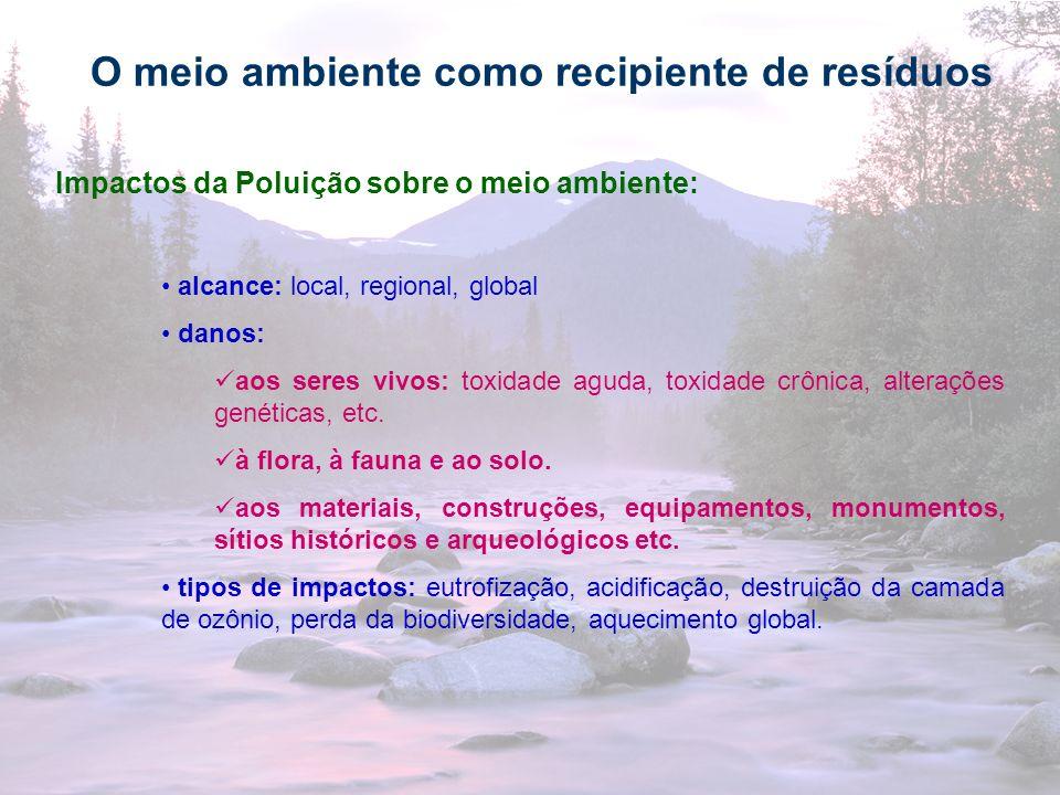 29 O meio ambiente como recipiente de resíduos Impactos da Poluição sobre o meio ambiente: alcance: local, regional, global danos: aos seres vivos: to