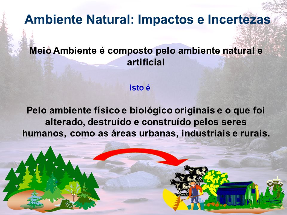 3 Ambiente Natural: Impactos e Incertezas Meio Ambiente é composto pelo ambiente natural e artificial Isto é Pelo ambiente físico e biológico originai