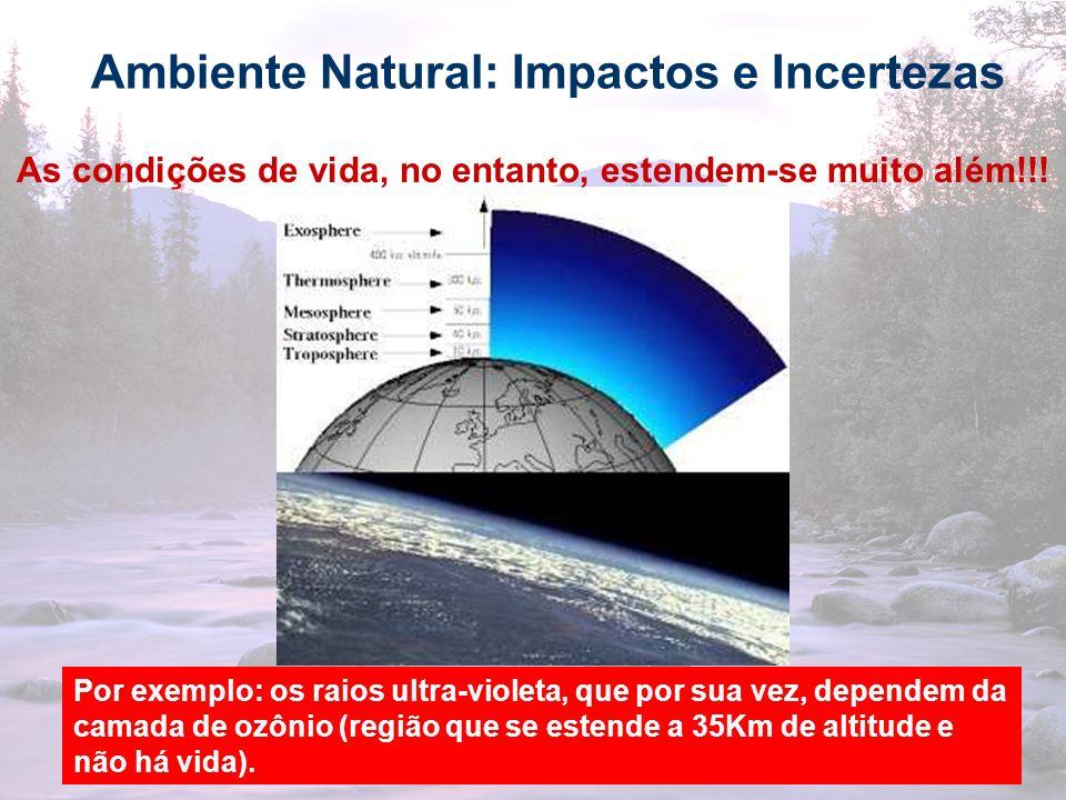 8 Ambiente Natural: Impactos e Incertezas As condições de vida, no entanto, estendem-se muito além!!! Por exemplo: os raios ultra-violeta, que por sua