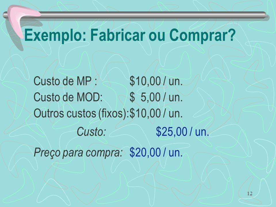 12 Exemplo: Fabricar ou Comprar? Custo de MP :$10,00 / un. Custo de MOD:$ 5,00 / un. Outros custos (fixos):$10,00 / un. Custo: $25,00 / un. Preço para