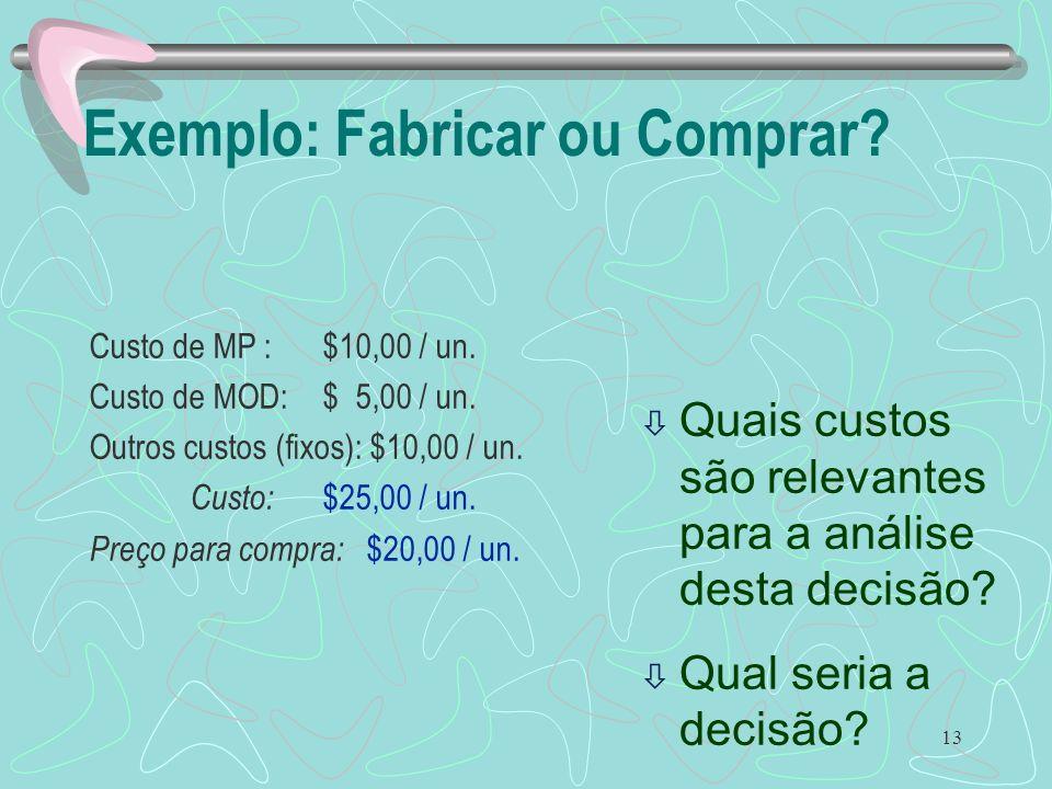 13 Exemplo: Fabricar ou Comprar? Custo de MP : $10,00 / un. Custo de MOD: $ 5,00 / un. Outros custos (fixos): $10,00 / un. Custo: $25,00 / un. Preço p