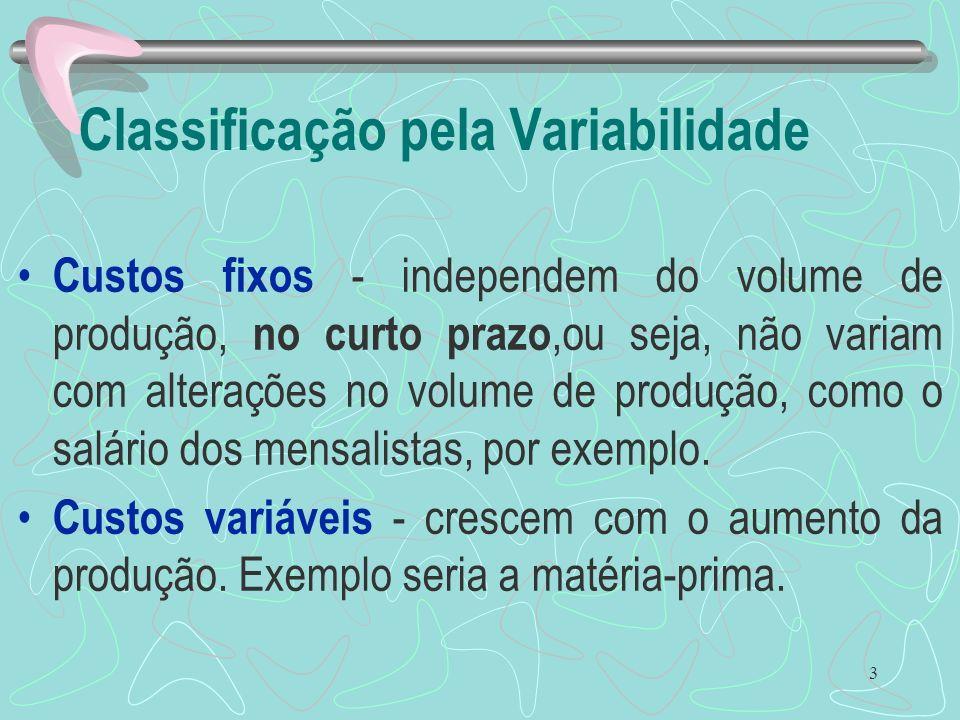 3 Classificação pela Variabilidade Custos fixos - independem do volume de produção, no curto prazo,ou seja, não variam com alterações no volume de pro
