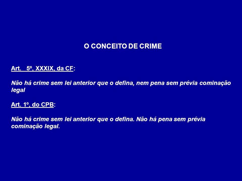 O CONCEITO DE CRIME Art. 5º, XXXIX, da CF: Não há crime sem lei anterior que o defina, nem pena sem prévia cominação legal Art. 1º, do CPB: Não há cri