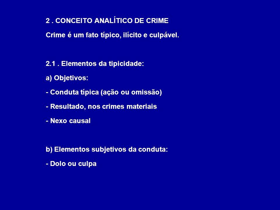 2. CONCEITO ANALÍTICO DE CRIME Crime é um fato típico, ilícito e culpável. 2.1. Elementos da tipicidade: a) Objetivos: - Conduta típica (ação ou omiss