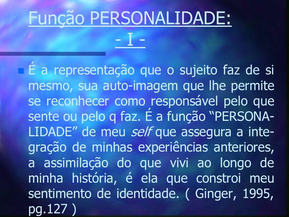 Função PERSONALIDADE: - I - n n É a representação que o sujeito faz de si mesmo, sua auto-imagem que lhe permite se reconhecer como responsável pelo q