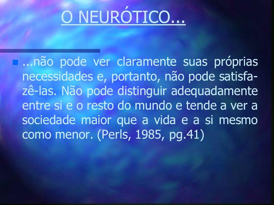 O NEURÓTICO... n n...não pode ver claramente suas próprias necessidades e, portanto, não pode satisfa- zê-las. Não pode distinguir adequadamente entre