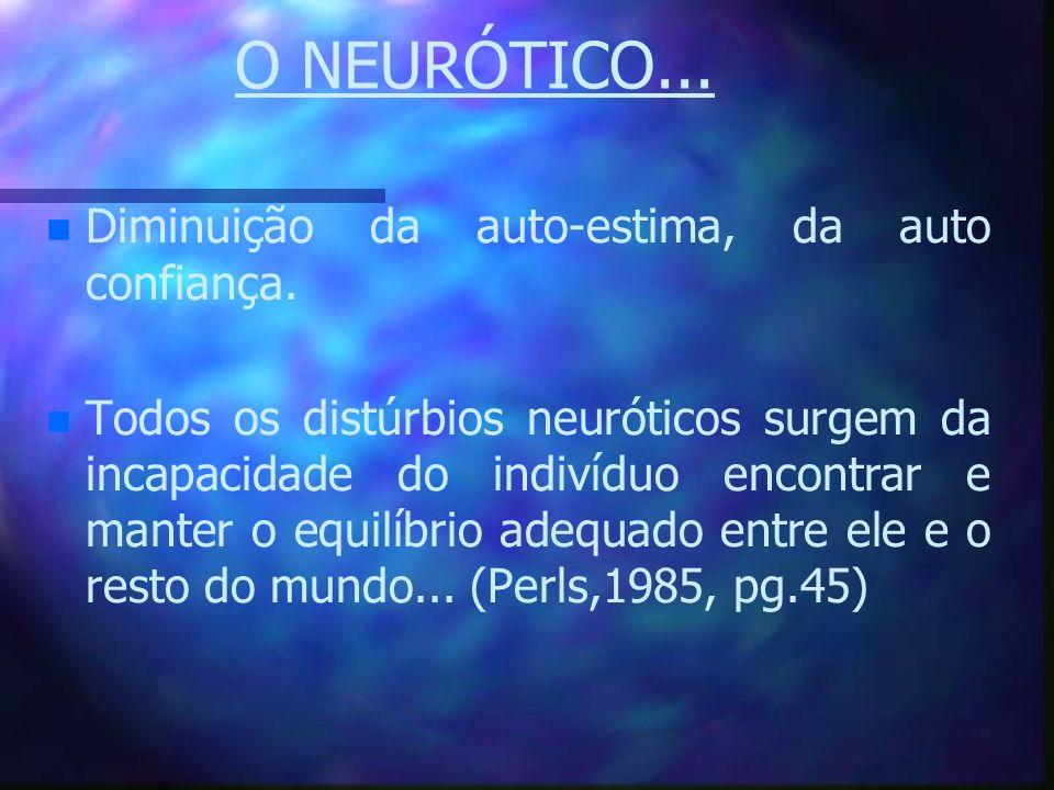 O NEURÓTICO... n n Diminuição da auto-estima, da auto confiança. n n Todos os distúrbios neuróticos surgem da incapacidade do indivíduo encontrar e ma