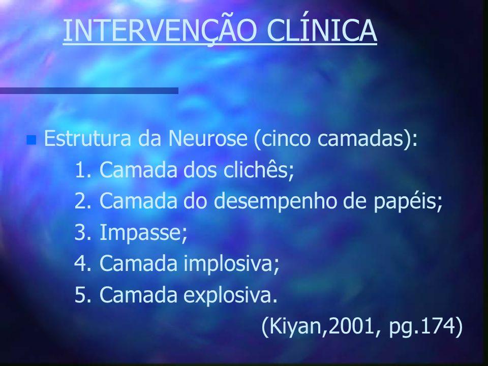 INTERVENÇÃO CLÍNICA n n Estrutura da Neurose (cinco camadas): 1. Camada dos clichês; 2. Camada do desempenho de papéis; 3. Impasse; 4. Camada implosiv