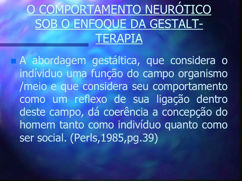 O COMPORTAMENTO NEURÓTICO SOB O ENFOQUE DA GESTALT- TERAPIA n n A abordagem gestáltica, que considera o indíviduo uma função do campo organismo /meio