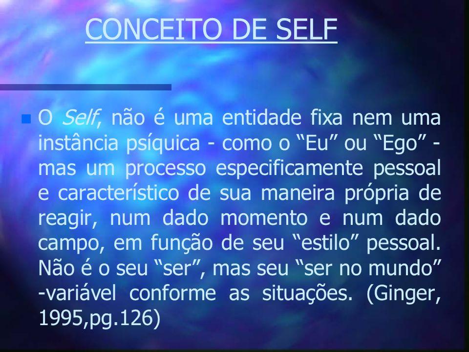 CONCEITO DE SELF n n O Self, não é uma entidade fixa nem uma instância psíquica - como o Eu ou Ego - mas um processo especificamente pessoal e caracte
