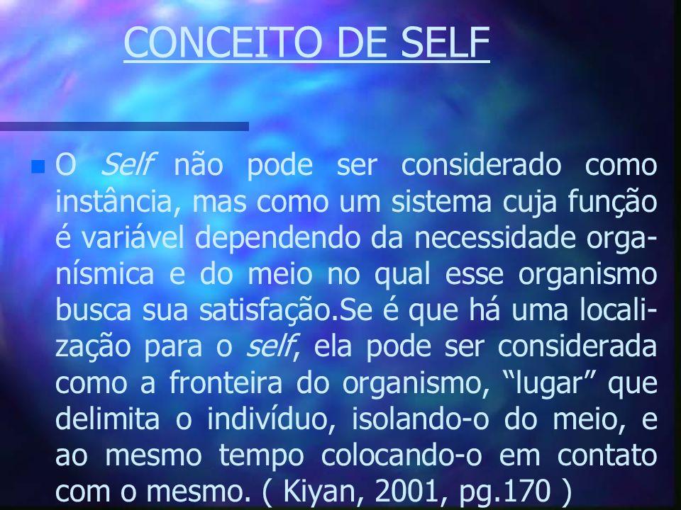 CONCEITO DE SELF n n O Self não pode ser considerado como instância, mas como um sistema cuja função é variável dependendo da necessidade orga- nísmic