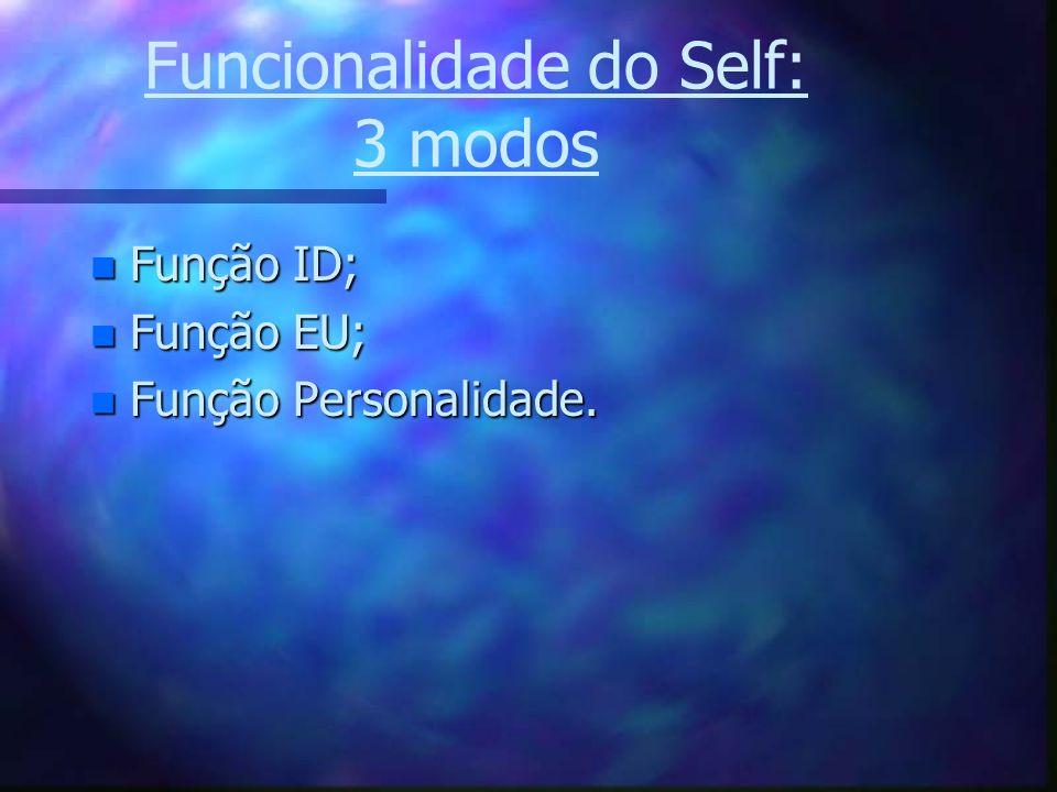 Funcionalidade do Self: 3 modos n Função ID; n Função EU; n Função Personalidade.